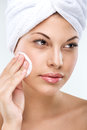 Beautiful woman with flawless skin cleansing Stock Photos