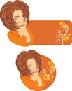Beautiful woman with floral ornament. Two stickers Royalty Free Stock Photo