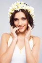 Beautiful woman in flower crown Royalty Free Stock Image