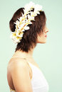 Beautiful woman in flower crown Royalty Free Stock Images