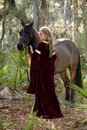 Beautiful woman in formal dress and horse Stock Photos