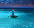 The beautiful woman in the fragile boat in a stormy sea portrait in a sunny day Royalty Free Stock Image