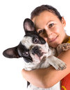 Beautiful woman with french bulldog over white Royalty Free Stock Image