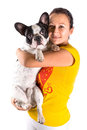 Beautiful woman with french bulldog over white Royalty Free Stock Images
