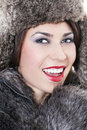 Beautiful woman in a fur coat Royalty Free Stock Photo