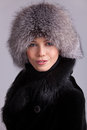 Beautiful woman in a fur hat and coat Stock Photography