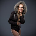 Beautiful woman in a fur trimmed hood Royalty Free Stock Image