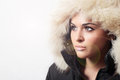 Beautiful woman with fur white fur hood winter style make up fashion beauty girl portrait of Stock Photos