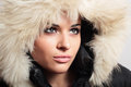 Beautiful woman with fur white fur hood winter style make up fashion beauty girl portrait of Royalty Free Stock Photography