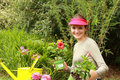 Beautiful woman gardener Stock Photo