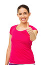 Beautiful woman gesturing thumbs up over white background portrait of vertical shot Royalty Free Stock Photography