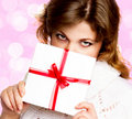 Beautiful woman with gift Stock Photos