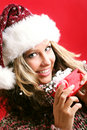 Beautiful woman with a gift Royalty Free Stock Images