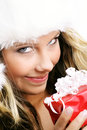 Beautiful woman with a gift Stock Image