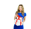 Beautiful woman with gift boxes blond smiling and holding valentines day half body portrait isolated over white background copy Royalty Free Stock Image