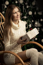 Beautiful woman with gift. Christmas  decoration Royalty Free Stock Photo