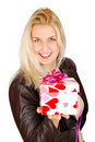 Beautiful woman with gift for valentine Royalty Free Stock Photos