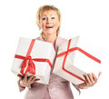 A beautiful woman with gifts Royalty Free Stock Image