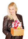 Beautiful woman with gifts for st.Valentines day Stock Photo