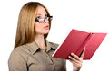 Beautiful woman in glasses with a book on white background Stock Images