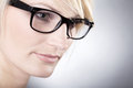 Beautiful woman with glasses close up