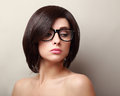 Beautiful woman in glasses short black hair style Royalty Free Stock Image