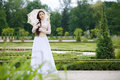 Beautiful woman in gothic dress the garden Royalty Free Stock Image