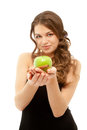 Beautiful woman with green apple isolated on white (focus on app Royalty Free Stock Photography