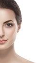 Beautiful woman half face close up studio on white Royalty Free Stock Photo