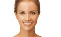 Beautiful woman with half face tanned beauty and health concept Stock Image