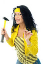 Beautiful woman with a hammer Stock Photography