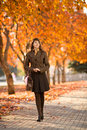 Beautiful woman the happiness mature walking outdoor in park autumnal day Royalty Free Stock Image