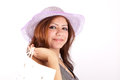 Beautiful woman in hat shopping Stock Image