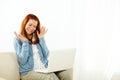 Beautiful woman having fun on laptop Royalty Free Stock Photo