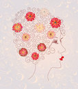 Beautiful woman head on the floral pattern Stock Photography