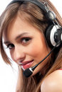 Beautiful woman with headset smiling Stock Photo