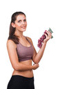 Beautiful woman holding a bunch of grapes lovely Stock Image