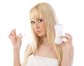 Beautiful woman holding cotton hygienic tampon Royalty Free Stock Photo