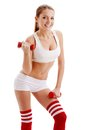 Beautiful woman holding dumbbells Royalty Free Stock Photo