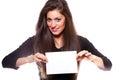 Beautiful woman holding empty white board Royalty Free Stock Image