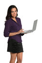 Beautiful Woman Holding Laptop Royalty Free Stock Images