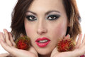 Beautiful Woman Holding Rambutan Stock Images