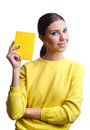 Beautiful woman holding yellow blank portrait of young with blue make up and blue nails isolated on white background Royalty Free Stock Images