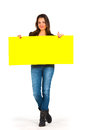 Beautiful woman holding a yellow paper Royalty Free Stock Images