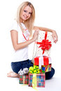 Beautiful woman with holiday gift Stock Photography