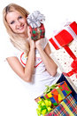 Beautiful woman with holiday gift Royalty Free Stock Images