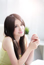 Beautiful woman at home smile to you asian Stock Image