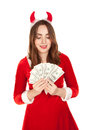 Beautiful woman with horn holding a lot of money Royalty Free Stock Photo