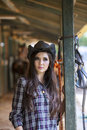 Beautiful woman at horse ranch young Stock Image