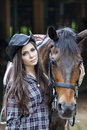 Beautiful woman and horse young her Royalty Free Stock Photography